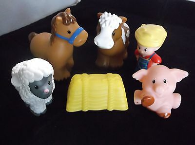 Fisher Price Little People Farm Animals Lot Horse cow Pig Farmer sheep hay