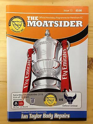 Football Programme: Merstham v Oxford United - FA Cup 1st Round - 5/11/2016