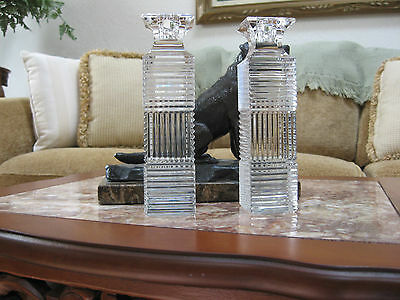 "Crystal candlesticks "" Val St.Lambert 7 1/4"" tall .""   Really NICE."