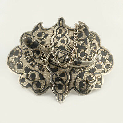 Antique Russian Silver and Niello Belt Buckle