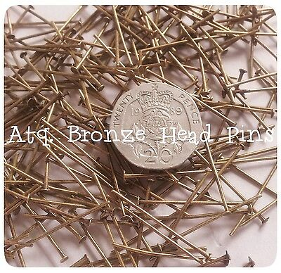 Head Pins 25mm Antique Bronze Tone 100, 200, 500 Jewellery Making Findings
