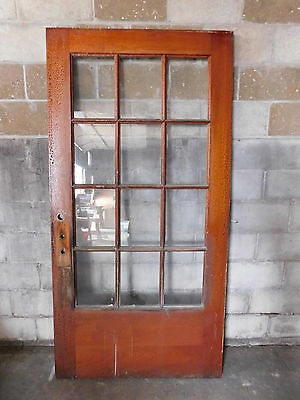 Antique Craftsman French Entry Door - C. 1895 Twelve Pane Architectural Salvage