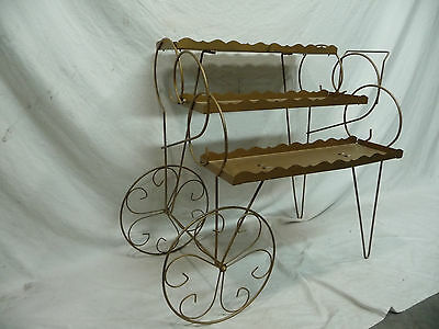 Vintage Metal Three Tier Plant Stand - Hair Pin Design with Original Gold Paint