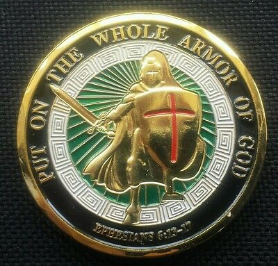 Gold Plated Armor of God Commemorative Challenge Coin Collection Collectible
