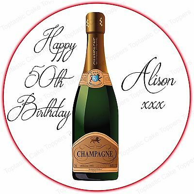 Personalised Champagne Bottle Edible Icing Birthday Anniversary Cake Topper
