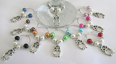 10 X Wine Glass Rings Charms  Cute Tibetan Silver Owls Set Of 10