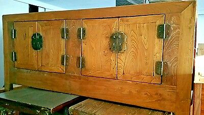 Antique Qing elm Chinese low Kang cabinet credenza cupboard sideboard coffee