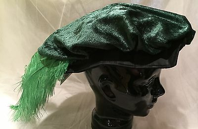 Peasant Renaissance Costume Hat-Green-Medieval-Plume-