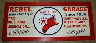 Personalized Vintage Style Filling Station Sign w/ Texaco Fire Chief round tin