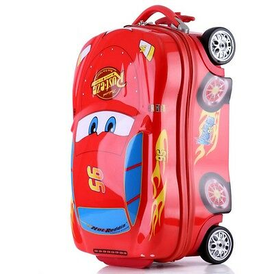 Cars Red Sit Kids Hard Shell 4 Wheel Travel Luggage Cabin Suitcase Trolley Bag R