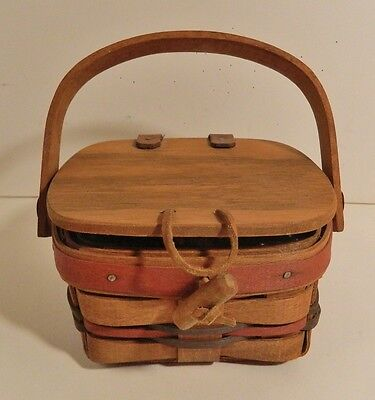 Longaberger Small Covered Basket - Signed & Dated 1989