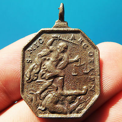 St Michael Archangel Slaying Satan Medal Old 17Th Century St Crescentius Pendant