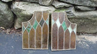 2 Vintage Stain/  Slag  Glass   Glass Window Panels 12 X 8