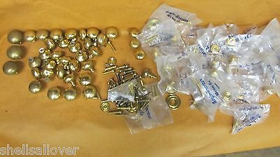 "Lg  lot of  Vintage & NOS  Round Brass    Drawer Pulls  1 1/2"" to 1/2"""