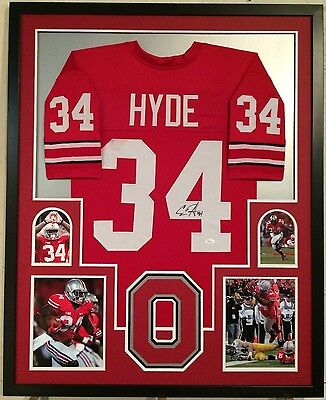 c82f2452c Framed Carlos Hyde Autographed Signed Ohio State Buckeyes Jersey Jsa Coa