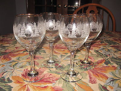 4 Arby's Christmas Winter White Tree Scene Stemmed Water Wine Champagne Goblets