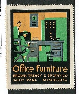 Vintage Poster Stamp Label BROWN TREACY & SPERRY Office Furniture St Paul MN