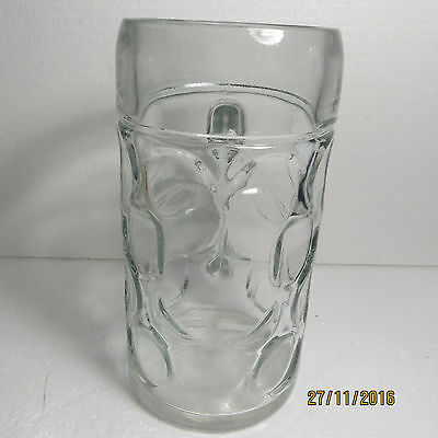 1 Litre Large Heavy Dimpled Bubble Glass Beer Stein........