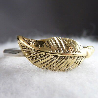 """US 7 3/4 ~ """"LEAF or FEATHER"""" SilverSari Ring ~ 925 Sterling Silver & Brass"""