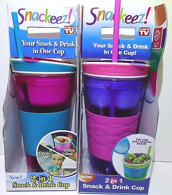 Lot( 2) Snackeez 2 in 1 Snack & Drink Cup One Cup Purple/Red 16 oz Cup & 8oz
