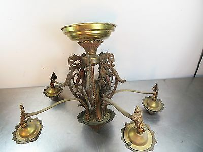 Antique ART DECO Vintage 5 Light Ornamental Chandelier Hanging Light Fixture