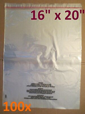 "VALUE PACK 100x ULINE Self-Seal Suffocation Warning Poly Bags 1.5mil - 16"" x 20"""