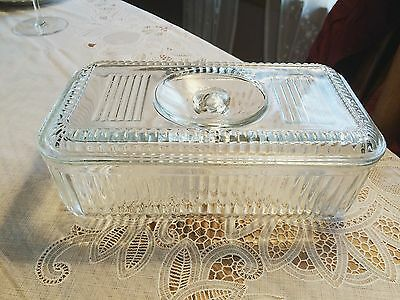 """Vintage Retro Ribbed Refrigerator Glass Bowl With Lid 8 3/4"""" Long x 5 """" Wide"""