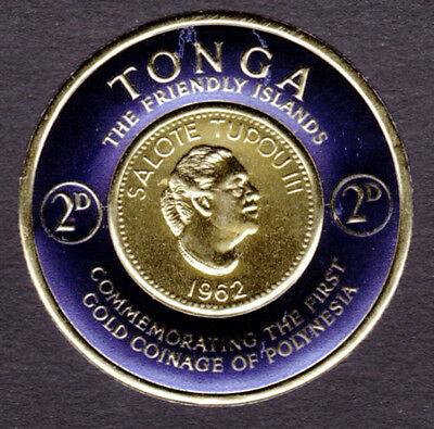 Tonga #129 Mint NH 1963 Gold Foil Coin Stamp 2D (AA_08m)