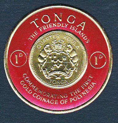 Tonga #128 Mint NH 1963 Gold Foil Coin Stamp 1D (AA_07m)