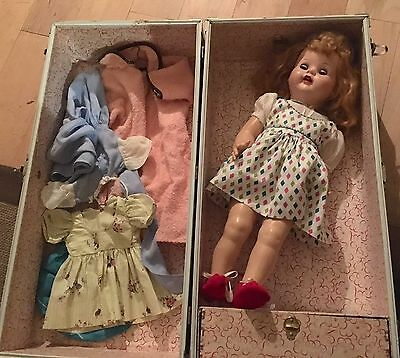 "VINTAGE 22"" IDEAL DOLL 60's? + case + clothes/accessories!"