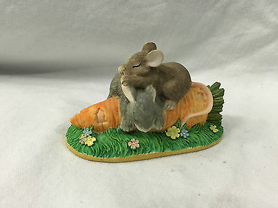 Charming Tails Figurine Silvestri Sleeping Bunny Mouse With Carrot