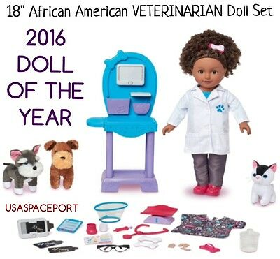 """2016 DOLL OF THE YEAR My Life As 18"""" VETERINARIAN African American Set Vet Dr"""