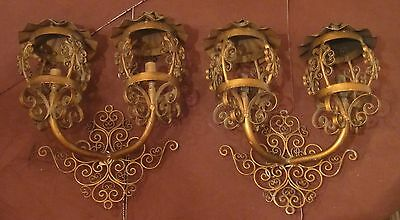 pair antique gold hand wrought iron wall mount electric ornate sconces fixture