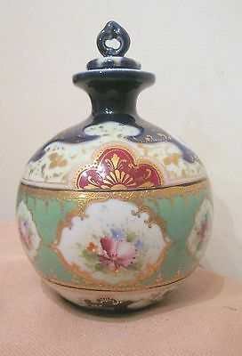 rare antique hand painted floral porcelain female spittoon lidded jar bottle jug