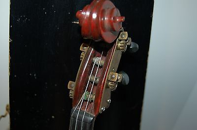 Antique 1915 Violin with Coffin Style Wooden Case - Engraved Brass Machine Pegs