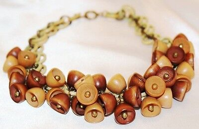 Exquisite WWII Era MIRIAM HASKELL Couture Wood Acorn Necklace ND