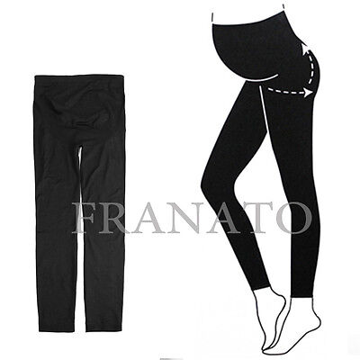 Womens New Seamless Maternity Pregnant Leggings Belly Cover Pants Trousers Black