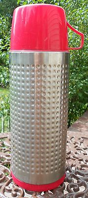 Vintage Retro Aladdin Thermo-King Thermo Silver & Red Quart