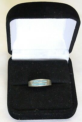 Antique Sterling Silver Signed MEX turquoise chip inlay Ring size 6
