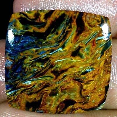 25.85Cts. 100% NATURAL GOLDEN PIETERSITE CUSHION CABOCHON FINE QUALITY GEMSTONES