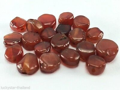 20 Antique Rare Natural Carnelian Hand Carved Bead Hexagon Old Afghanistan B45