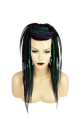 Brown, Green & Purple Synthetic Dread Falls, Hair Pieces, 20 Inches, Unisex.