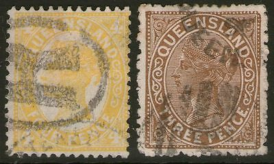 QUEENSLAND 2 state stamps Lot D