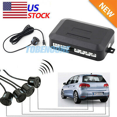 4 Parking Sensors LED Car Auto Backup Reverse Rear Radar System Alert Alarm Kit~