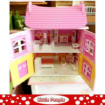 1:12th Scale Kids Girls Play Dolls House With Furniture