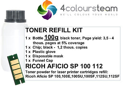 100g TONER REFILL RESET CHIP FOR RICOH AFICIO SP100 SP 100 112 100SF 407166