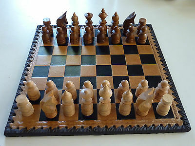 Vintage Wooden Chess Set Leather Board Old Game