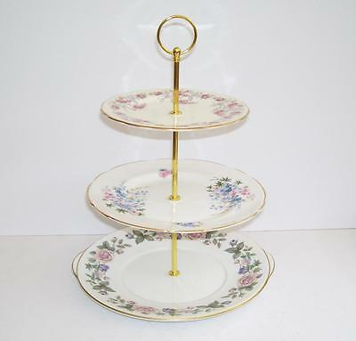 Mismatched English Bone China Florals 3 Tier Cake Stand.