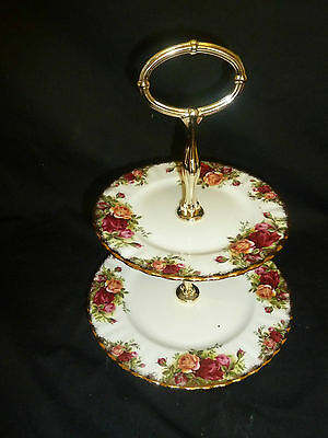 A  Royal Albert Old Country Roses  Two Tier Cake Stand Unused