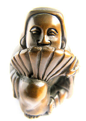 "Y2024 -- 2"" Hand Carved Boxwood Netsuke - mysterious Japanese man"